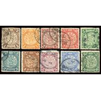10 used Coiling Dragon stamps.